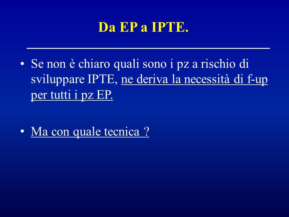 Da EP a IPTE. Se non è chiaro quali sono i pz a rischio di sviluppare IPTE, ne deriva la necessità di f-up per tutti i pz EP.