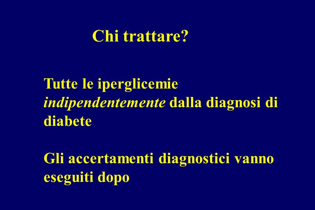 Chi trattare. Tutte le iperglicemie indipendentemente dalla diagnosi di diabete.