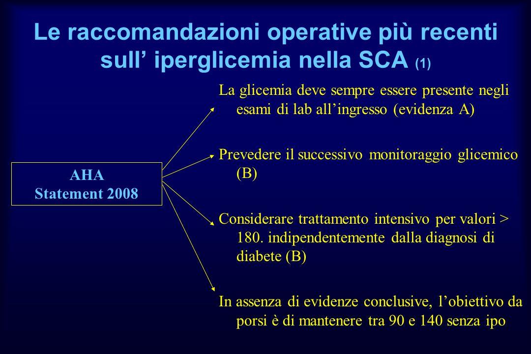 Le raccomandazioni operative più recenti sull' iperglicemia nella SCA (1)