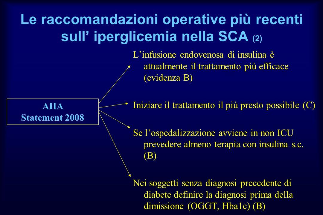 Le raccomandazioni operative più recenti sull' iperglicemia nella SCA (2)