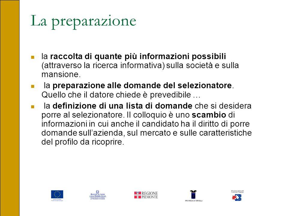 La preparazione la raccolta di quante più informazioni possibili (attraverso la ricerca informativa) sulla società e sulla mansione.