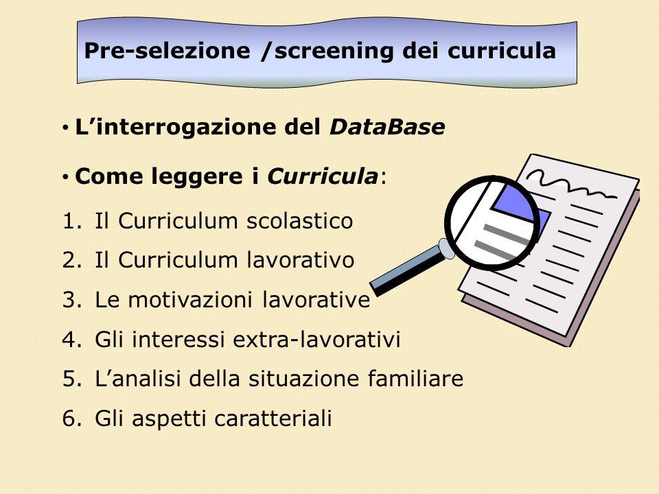 Pre-selezione /screening dei curricula