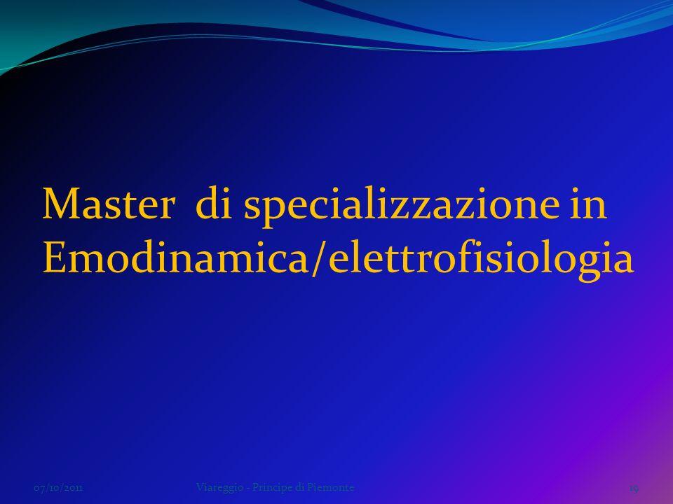 Master di specializzazione in Emodinamica/elettrofisiologia