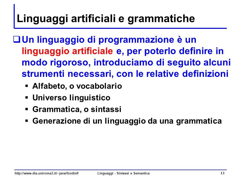 Linguaggi artificiali e grammatiche