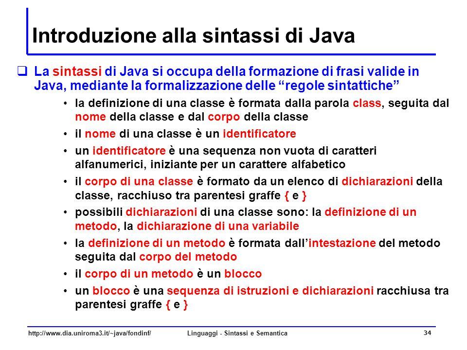Introduzione alla sintassi di Java