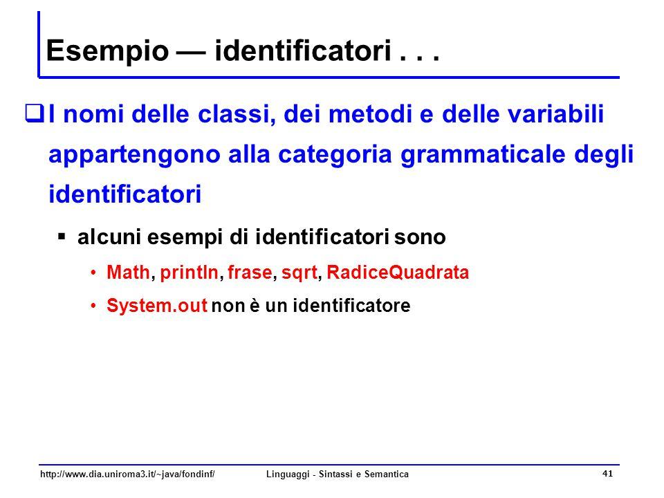 Esempio — identificatori . . .
