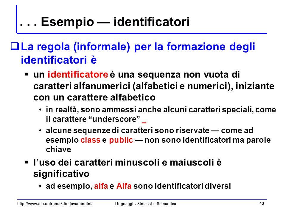 . . . Esempio — identificatori