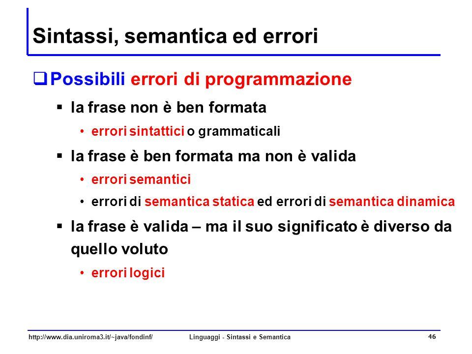 Sintassi, semantica ed errori