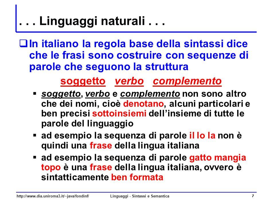soggetto verbo complemento Linguaggi - Sintassi e Semantica