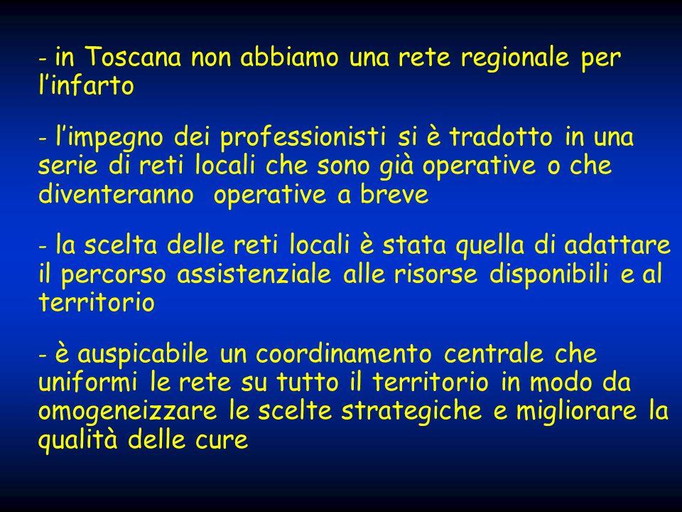 - in Toscana non abbiamo una rete regionale per l'infarto
