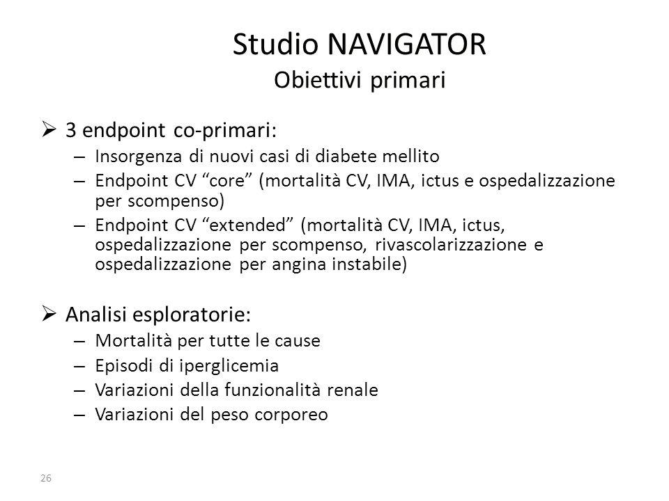 Studio NAVIGATOR Obiettivi primari