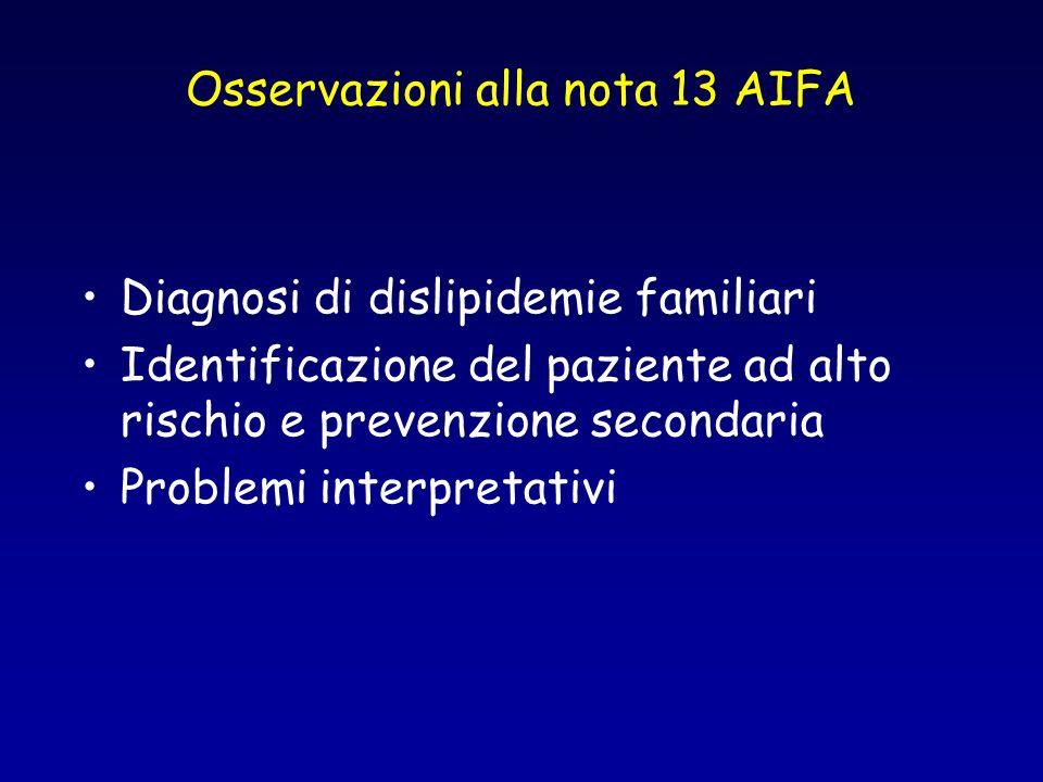 Osservazioni alla nota 13 AIFA
