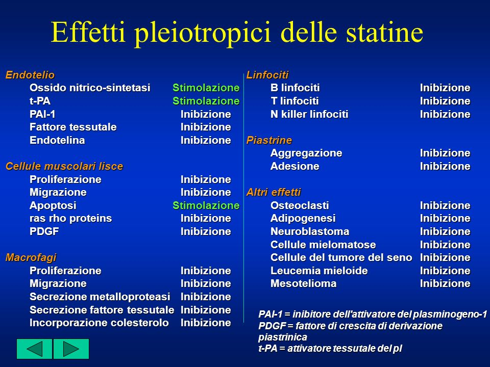 Effetti pleiotropici delle statine