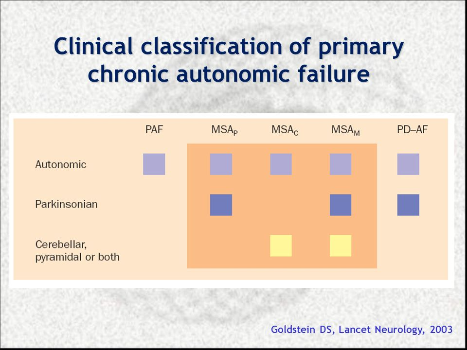 Clinical classification of primary chronic autonomic failure