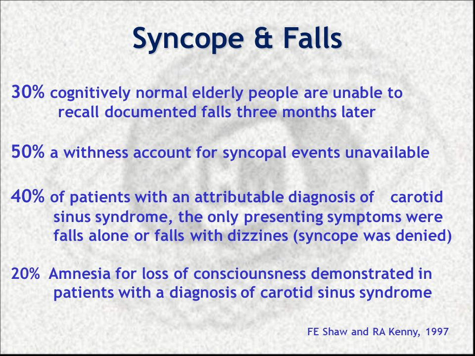 Syncope & Falls 30% cognitively normal elderly people are unable to
