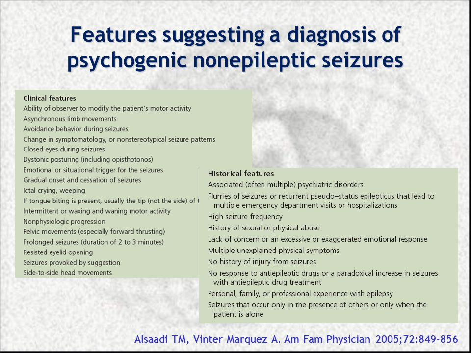 Features suggesting a diagnosis of psychogenic nonepileptic seizures
