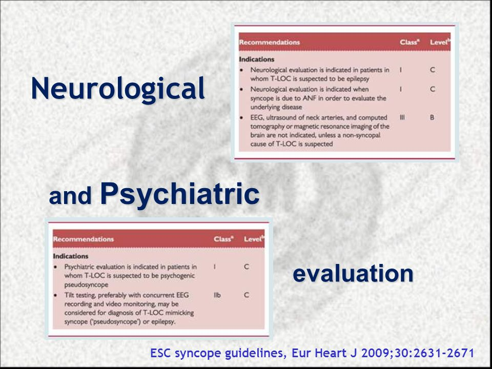 Neurological and Psychiatric evaluation