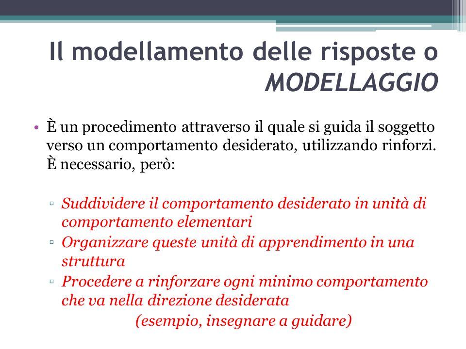 Il modellamento delle risposte o MODELLAGGIO