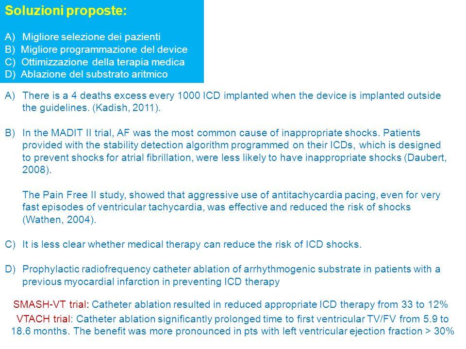 Soluzioni proposte: Migliore selezione dei pazienti