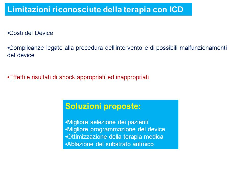 Limitazioni riconosciute della terapia con ICD