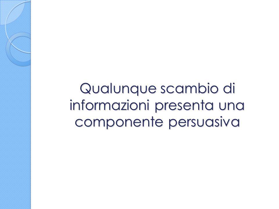 Qualunque scambio di informazioni presenta una componente persuasiva