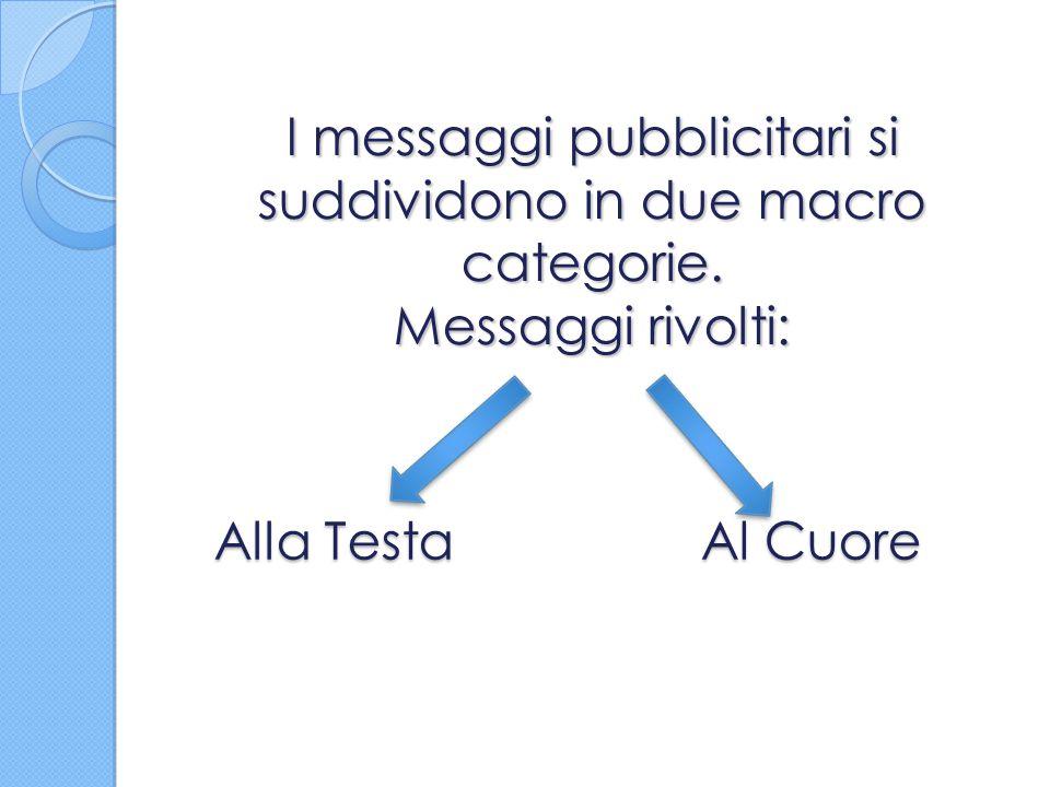 I messaggi pubblicitari si suddividono in due macro categorie