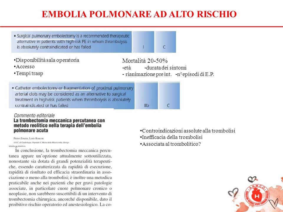 EMBOLIA POLMONARE AD ALTO RISCHIO