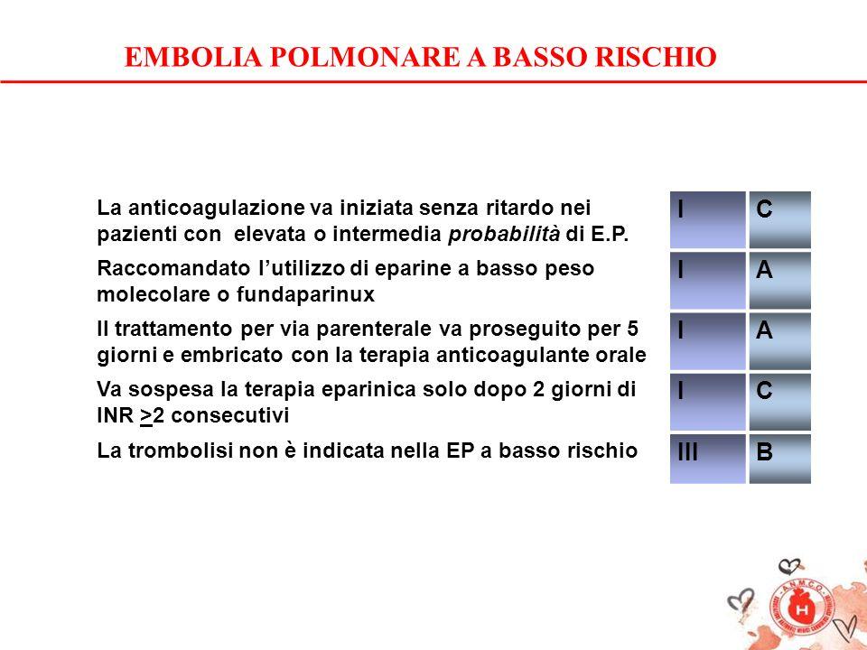 EMBOLIA POLMONARE A BASSO RISCHIO