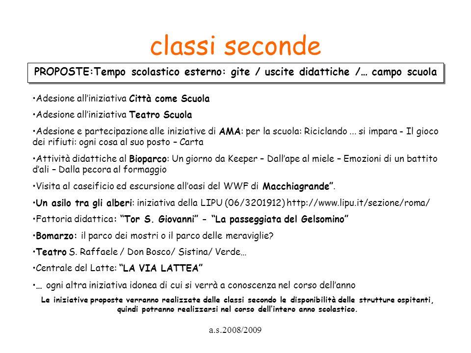 classi seconde PROPOSTE:Tempo scolastico esterno: gite / uscite didattiche /… campo scuola. Adesione all'iniziativa Città come Scuola.