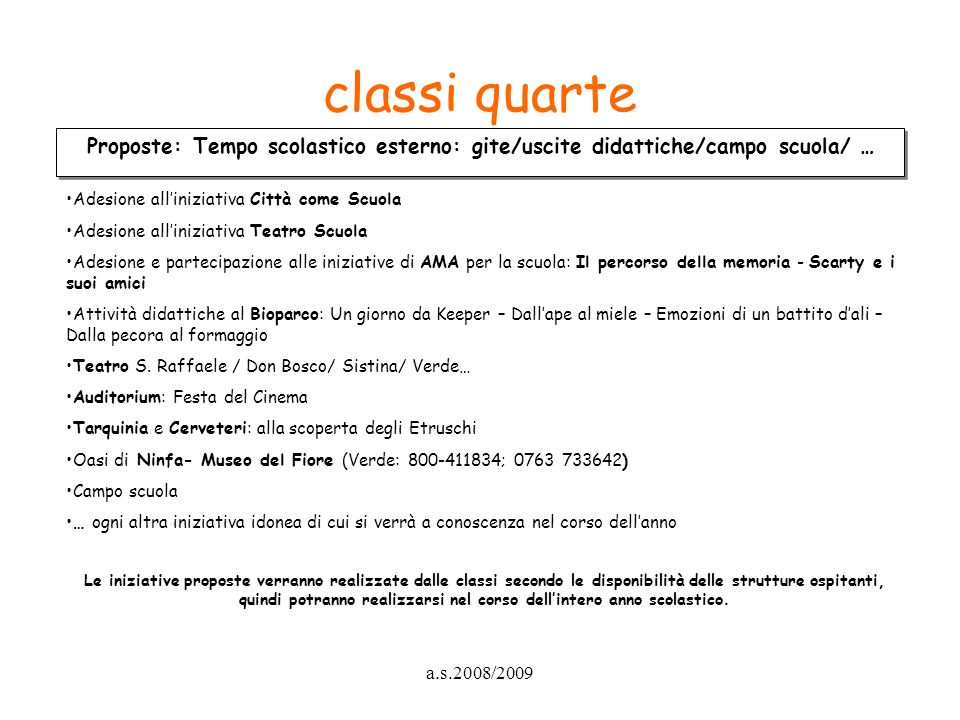 classi quarte Proposte: Tempo scolastico esterno: gite/uscite didattiche/campo scuola/ … Adesione all'iniziativa Città come Scuola.