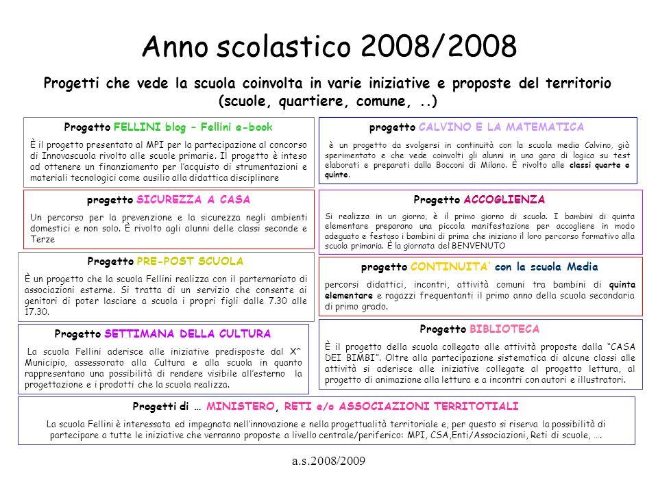Anno scolastico 2008/2008 Progetti che vede la scuola coinvolta in varie iniziative e proposte del territorio (scuole, quartiere, comune, ..)