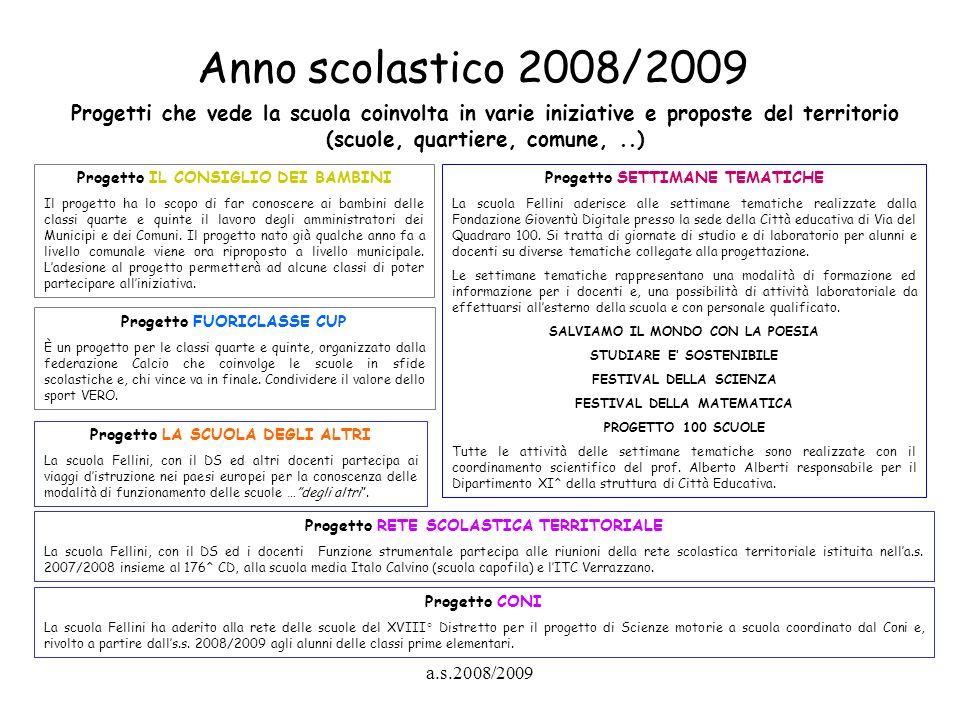 Anno scolastico 2008/2009 Progetti che vede la scuola coinvolta in varie iniziative e proposte del territorio (scuole, quartiere, comune, ..)