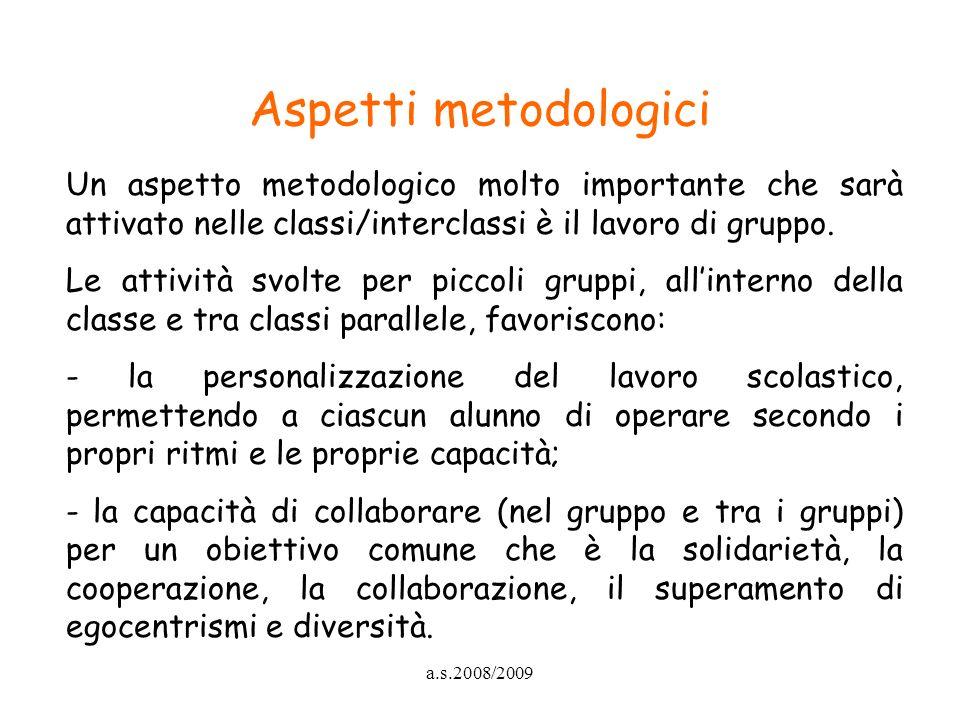Aspetti metodologici Un aspetto metodologico molto importante che sarà attivato nelle classi/interclassi è il lavoro di gruppo.