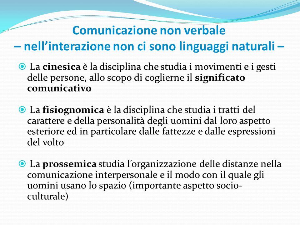 Comunicazione non verbale – nell'interazione non ci sono linguaggi naturali –