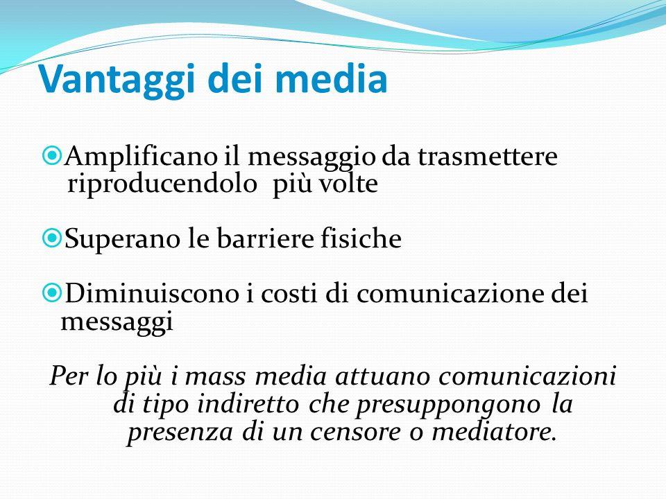 Vantaggi dei media Amplificano il messaggio da trasmettere riproducendolo più volte. Superano le barriere fisiche.