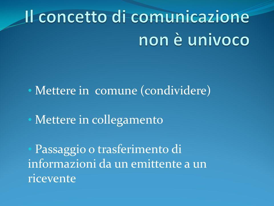 Il concetto di comunicazione non è univoco