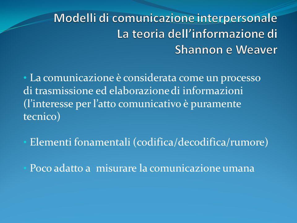 Modelli di comunicazione interpersonale La teoria dell'informazione di Shannon e Weaver