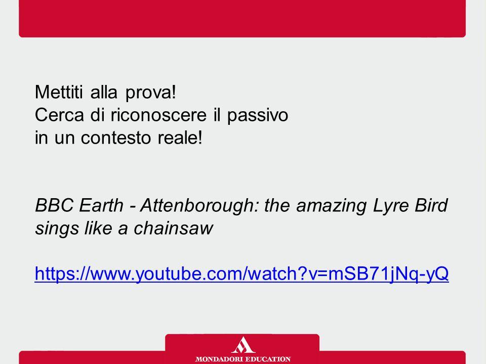 Mettiti alla prova! Cerca di riconoscere il passivo. in un contesto reale! BBC Earth - Attenborough: the amazing Lyre Bird sings like a chainsaw.