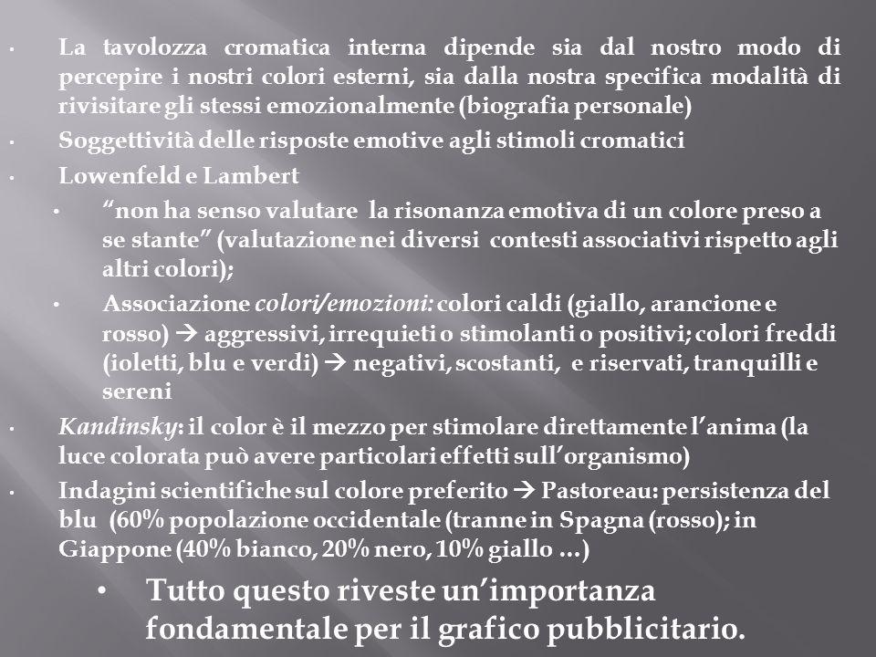 La tavolozza cromatica interna dipende sia dal nostro modo di percepire i nostri colori esterni, sia dalla nostra specifica modalità di rivisitare gli stessi emozionalmente (biografia personale)