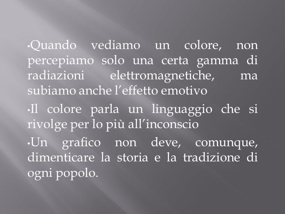 Quando vediamo un colore, non percepiamo solo una certa gamma di radiazioni elettromagnetiche, ma subiamo anche l'effetto emotivo