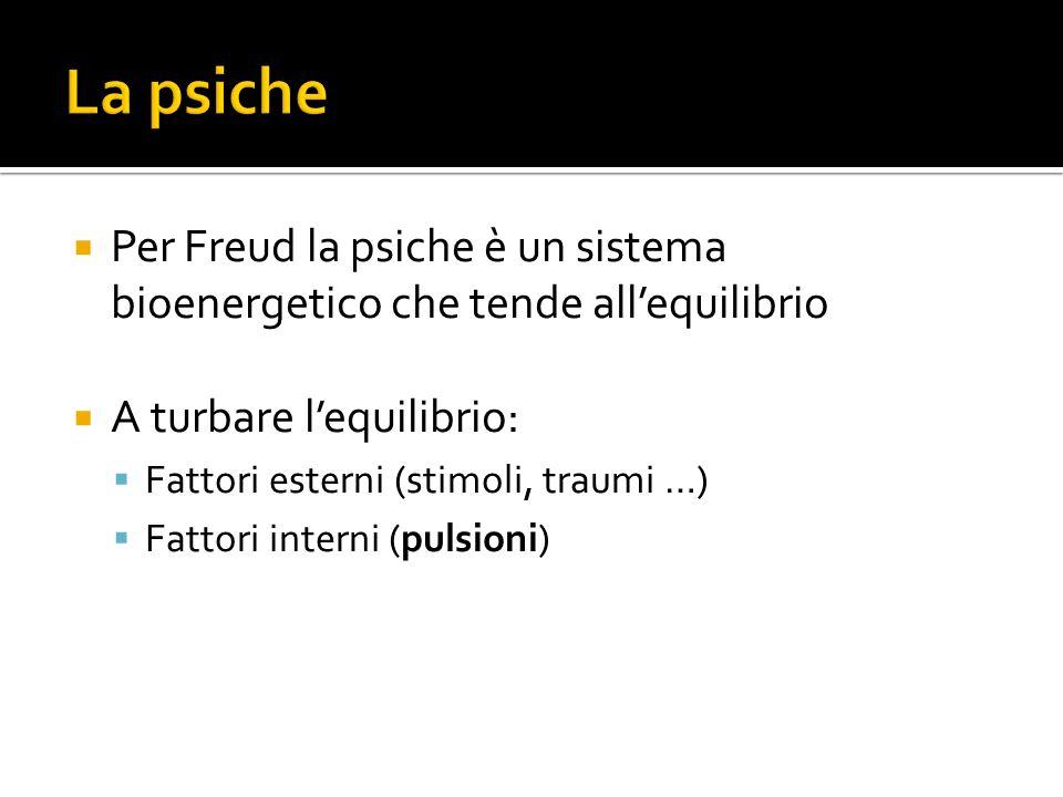 La psiche Per Freud la psiche è un sistema bioenergetico che tende all'equilibrio. A turbare l'equilibrio: