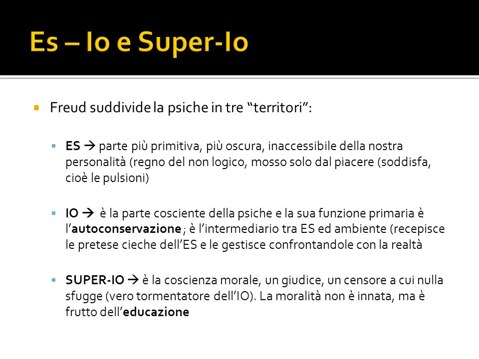 Es – Io e Super-Io Freud suddivide la psiche in tre territori :