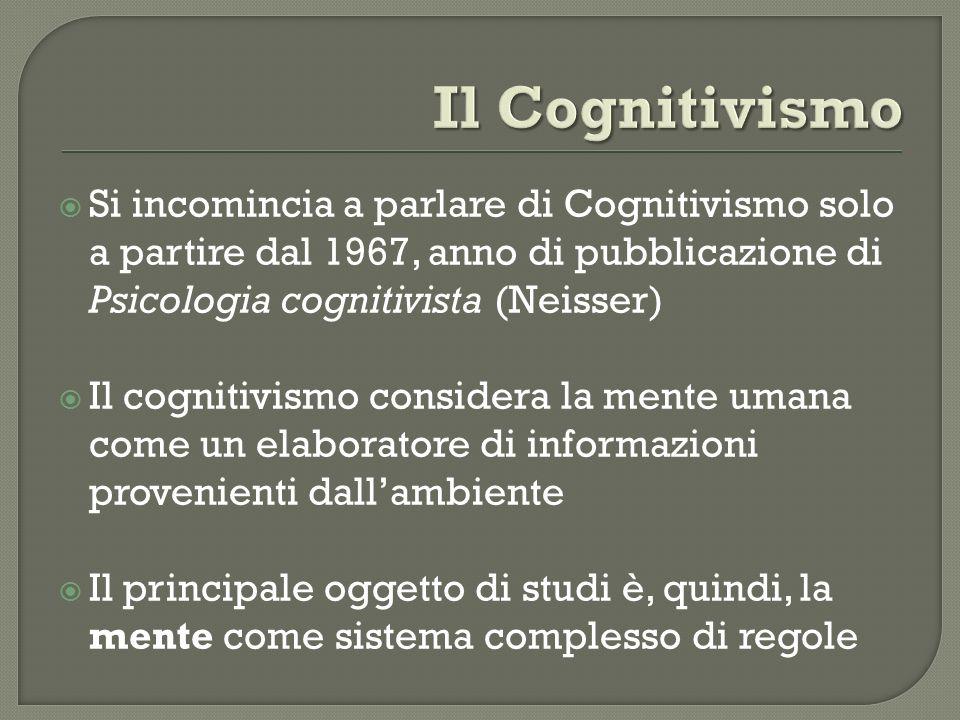 Il Cognitivismo Si incomincia a parlare di Cognitivismo solo a partire dal 1967, anno di pubblicazione di Psicologia cognitivista (Neisser)