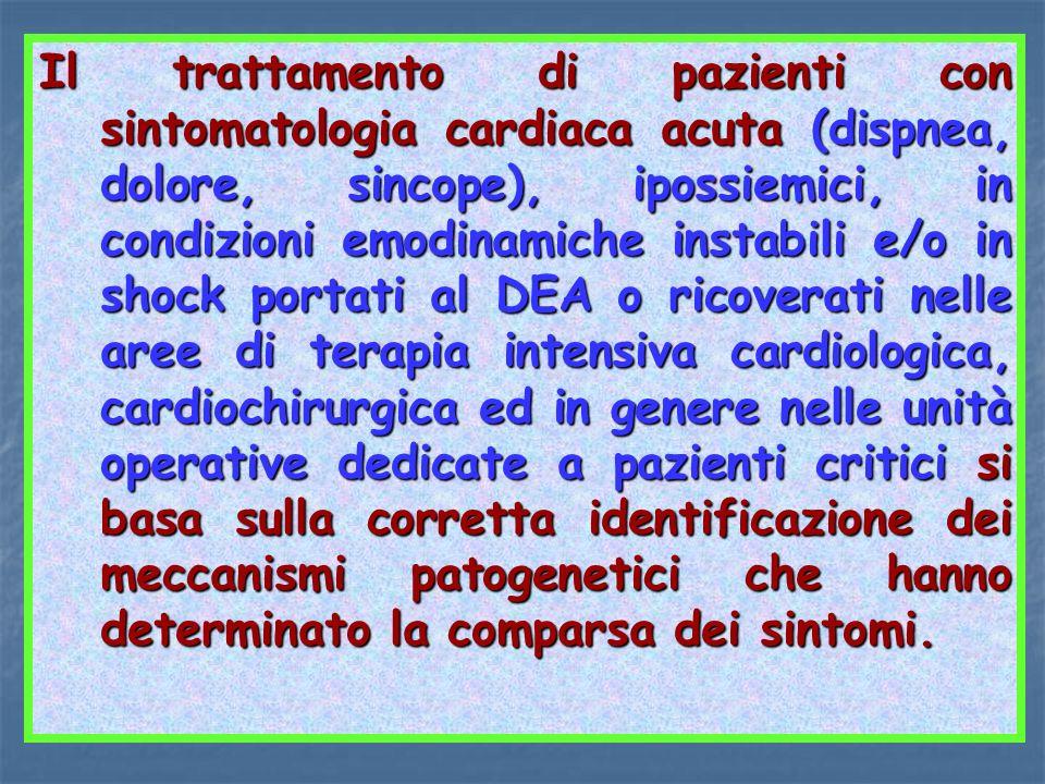 Il trattamento di pazienti con sintomatologia cardiaca acuta (dispnea, dolore, sincope), ipossiemici, in condizioni emodinamiche instabili e/o in shock portati al DEA o ricoverati nelle aree di terapia intensiva cardiologica, cardiochirurgica ed in genere nelle unità operative dedicate a pazienti critici si basa sulla corretta identificazione dei meccanismi patogenetici che hanno determinato la comparsa dei sintomi.