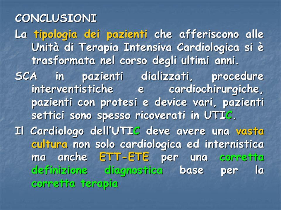CONCLUSIONI La tipologia dei pazienti che afferiscono alle Unità di Terapia Intensiva Cardiologica si è trasformata nel corso degli ultimi anni.