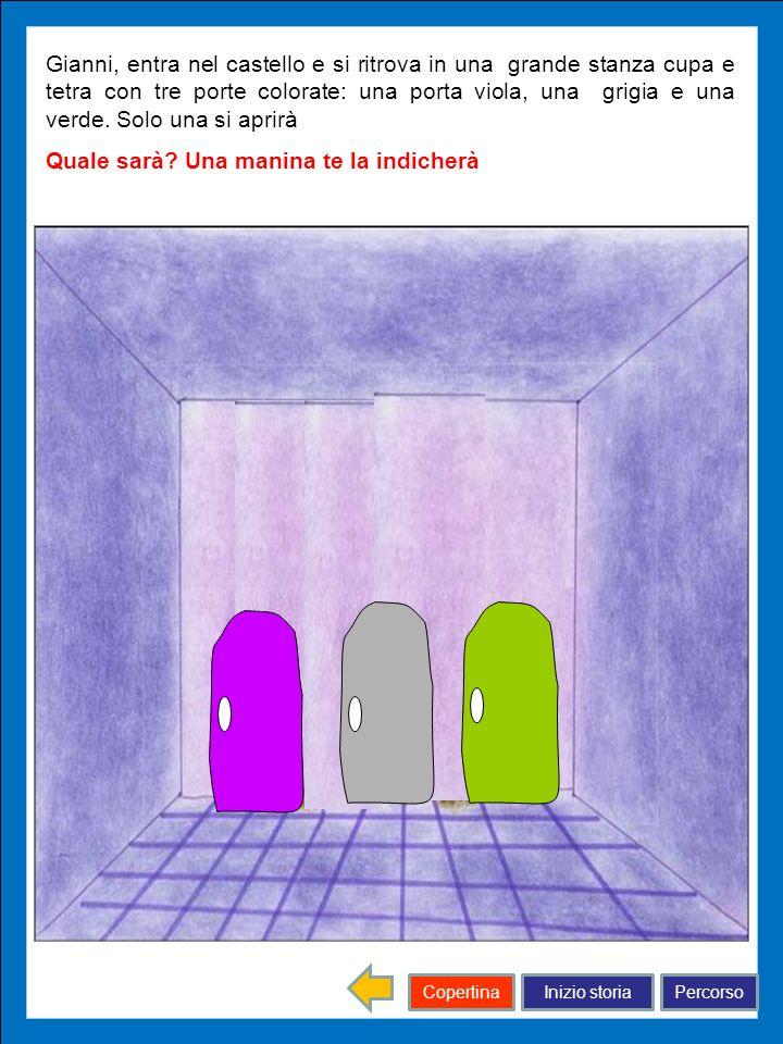 Gianni, entra nel castello e si ritrova in una grande stanza cupa e tetra con tre porte colorate: una porta viola, una grigia e una verde. Solo una si aprirà
