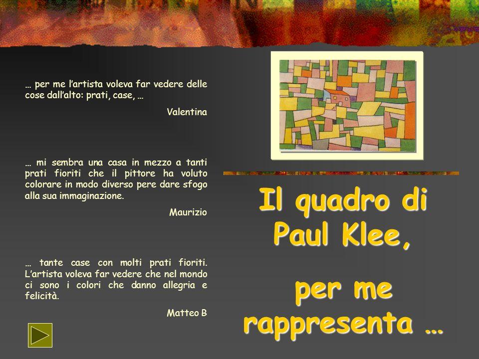 Il quadro di Paul Klee, per me rappresenta …