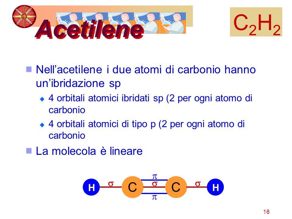 C2H2Acetilene. Nell'acetilene i due atomi di carbonio hanno un'ibridazione sp. 4 orbitali atomici ibridati sp (2 per ogni atomo di carbonio.