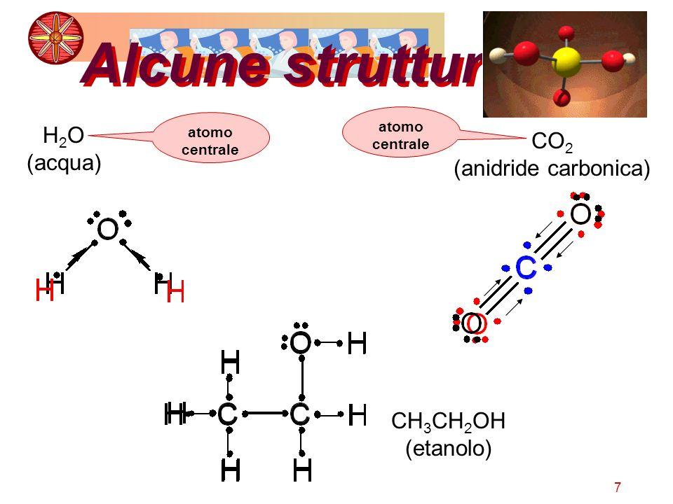 Alcune strutture H2O CO2 (acqua) (anidride carbonica) CH3CH2OH