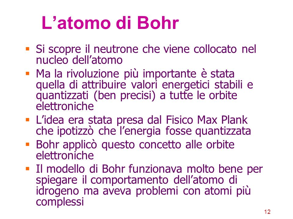 L'atomo di BohrSi scopre il neutrone che viene collocato nel nucleo dell'atomo.